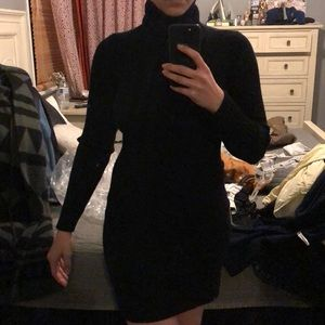 Short sweater Turtle neck dress